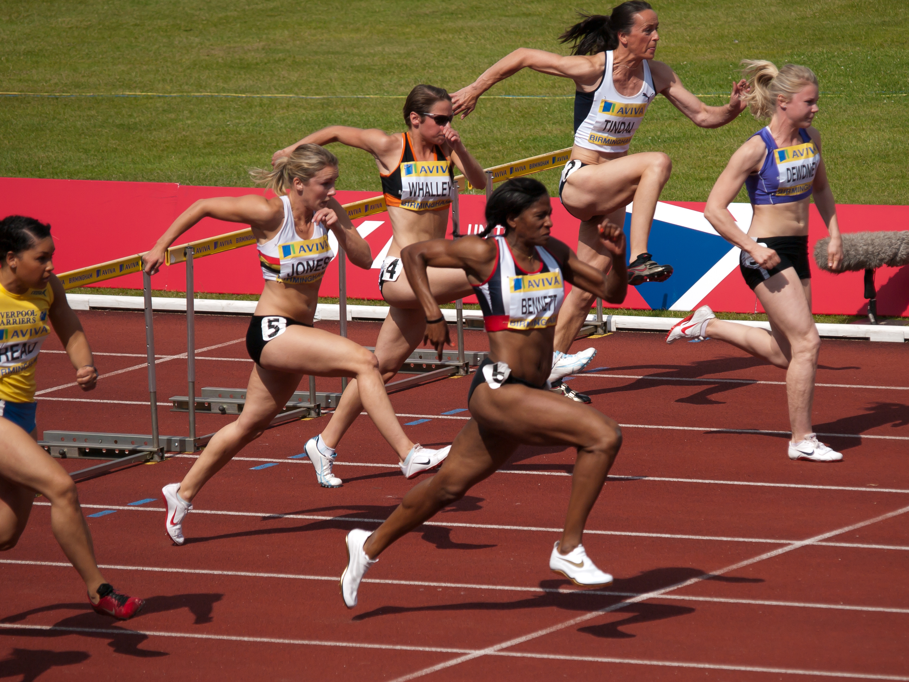 Runners in Heat 1 of the Womens 100m Hurdles Semi-Final at the Aviva 2010 UK Athletics Championships and European Trials at the Alexandra Stadium in Birmingham